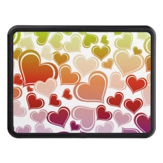 Funky Bright Hearts Pattern Trailer Hitch Cover