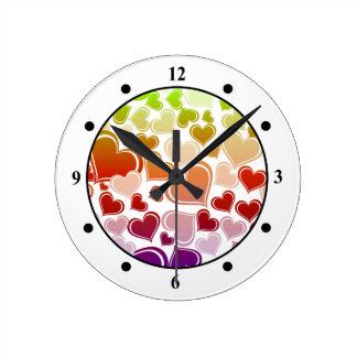 Funky Bright Hearts Pattern Wall Clock