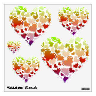 Funky Bright Hearts Pattern Wall Decal
