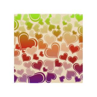 Funky Bright Hearts Pattern Wood Print
