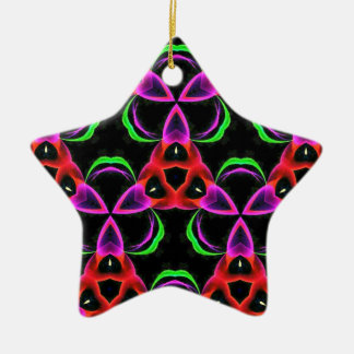 Funky Bright Neon Colors Seamless Pattern Ceramic Star Ornament