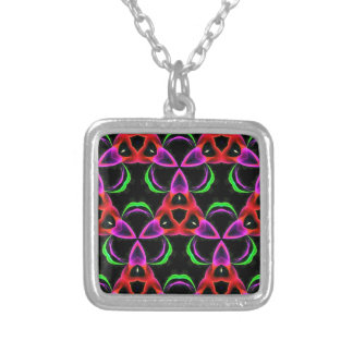 Funky Bright Neon Colors Seamless Pattern Silver Plated Necklace