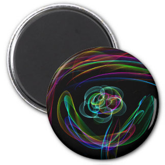 Funky Bright Neon Rainbow Over flower Color Sketch 2 Inch Round Magnet
