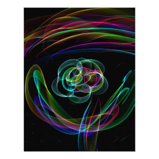 Funky Bright Neon Rainbow Over flower Color Sketch Customized Letterhead