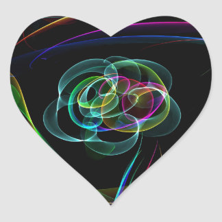 Funky Bright Neon Rainbow Over flower Color Sketch Heart Sticker