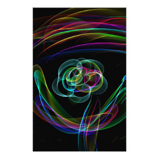 Funky Bright Neon Rainbow Over flower Color Sketch Stationery
