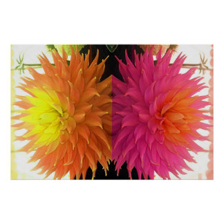 Funky Bright Orange & Pink Spiked Flowers Poster