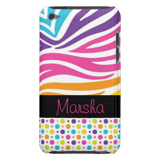 funky bright rainbow stripes white zebra dots iPod touch case
