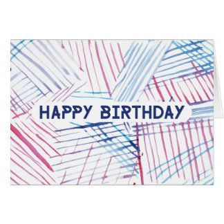 Funky Bright Watercolour Stipe Happy Birthday Card
