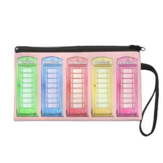 Funky British telephone booth - colors Wristlets