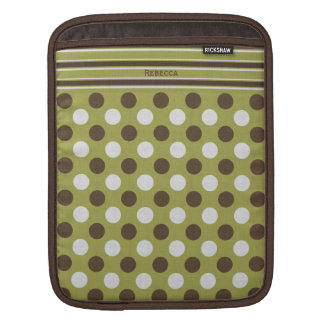 Funky Brown and Olive Green Pattern iPad Sleeve