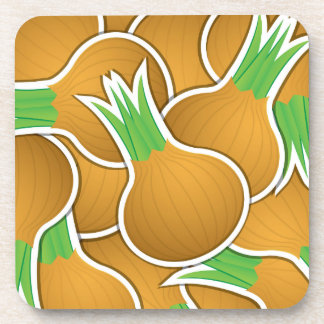 Funky brown onions drink coasters