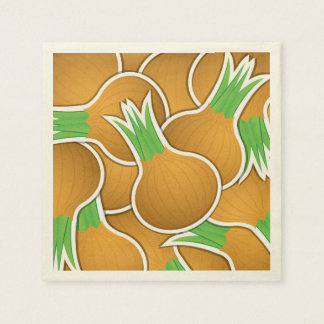 Funky brown onions paper napkins