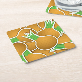 Funky brown onions square paper coaster