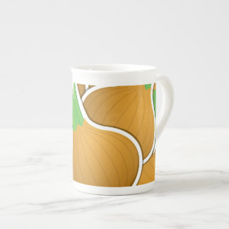 Funky brown onions tea cup