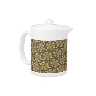 Funky Brown Retro Pattern teapot