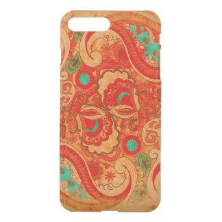 Funky Burnt Orange Red Turquoise Vintage Paisley iPhone 7 Plus Case