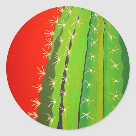 Funky Cactus Classic Round Sticker