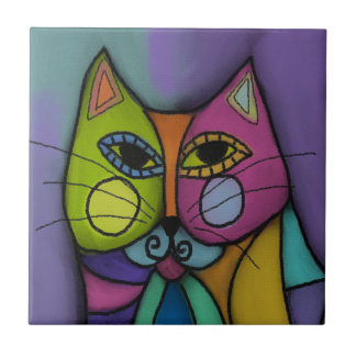 Funky Calico Cat Tile