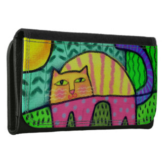 Funky Cat Abstract Art Wallet