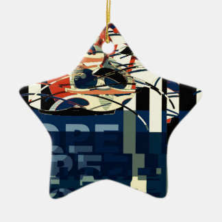 Funky Cat Abstract Ceramic Star Ornament