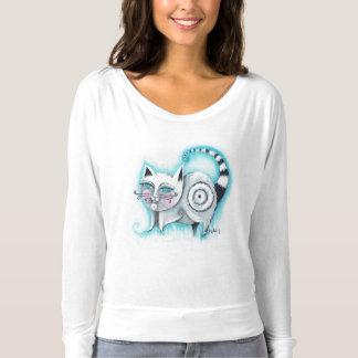 Funky Cat Off Shoulder Shirt - White