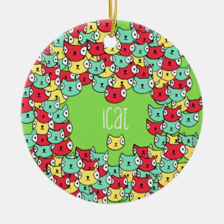 Funky cat pattern ceramic ornament