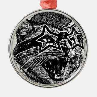 Funky Cat Silver-Colored Round Ornament