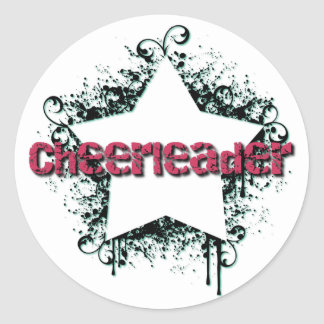 Funky Cheerleading Star Classic Round Sticker