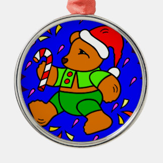 Funky Christmas Teddy Silver-Colored Round Ornament