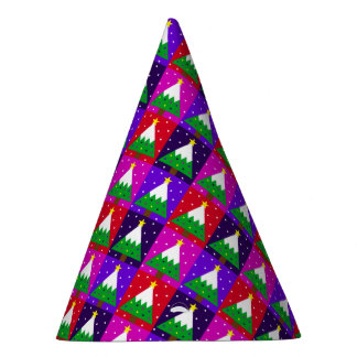 Funky Christmas Tree Pattern Party Hat