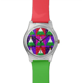 Funky Christmas Tree Pattern Watch