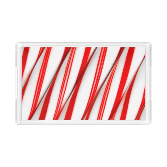 Funky Chrstmas Candy Canes Acrylic Tray