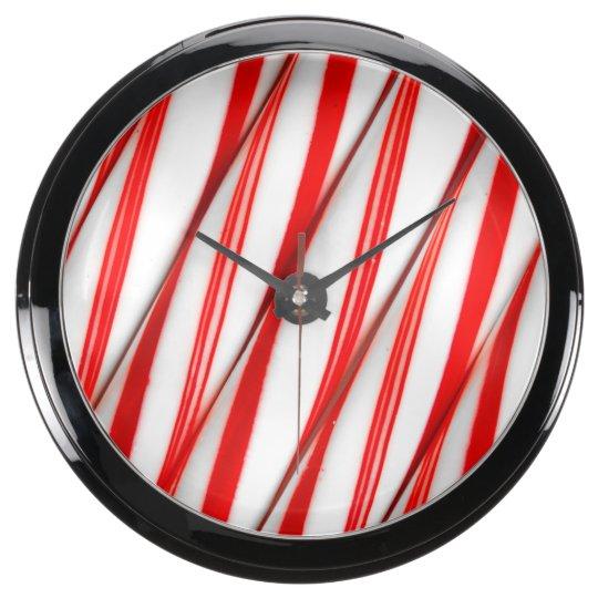 Funky Chrstmas Candy Canes Aqua Clock