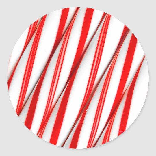 Funky Chrstmas Candy Canes Classic Round Sticker