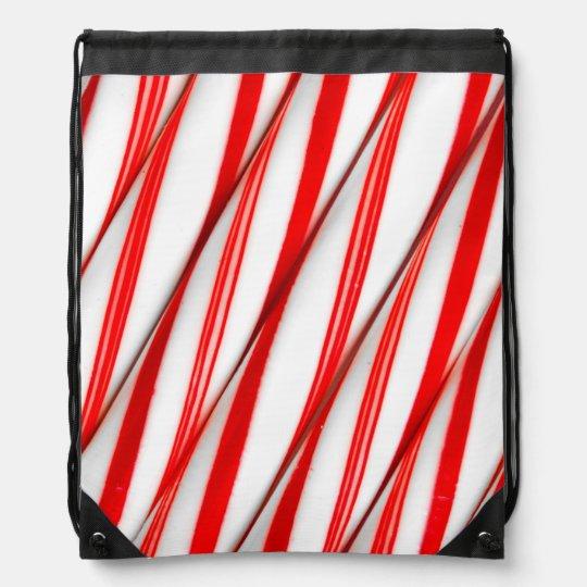 Funky Chrstmas Candy Canes Drawstring Bag
