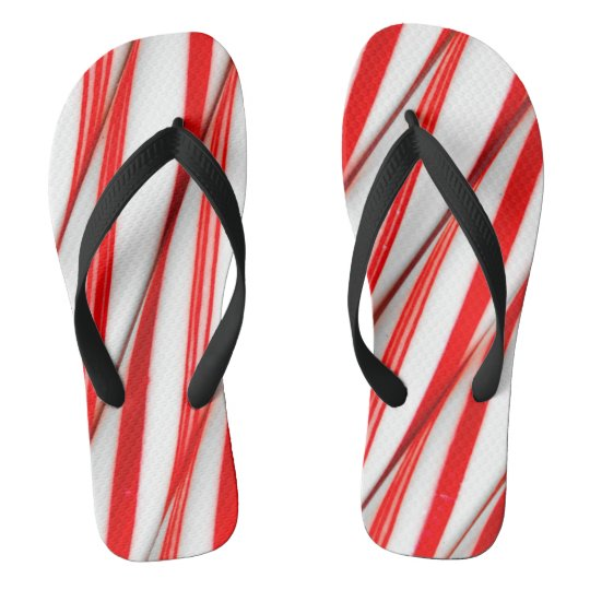Funky Chrstmas Candy Canes Flip Flops