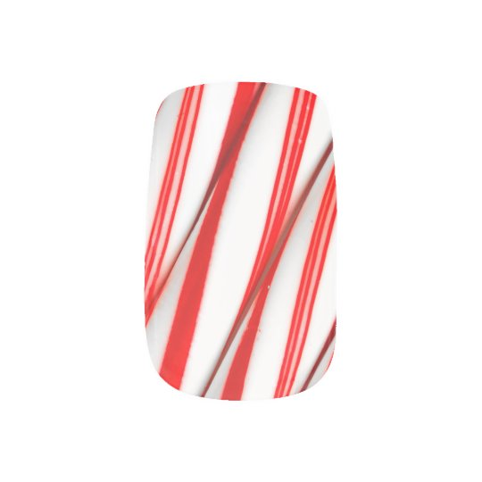 Funky Chrstmas Candy Canes Minx Nail Art