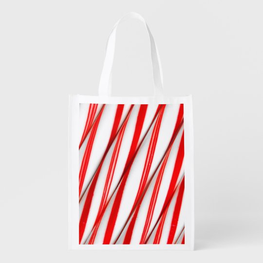 Funky Chrstmas Candy Canes Reusable Grocery Bag