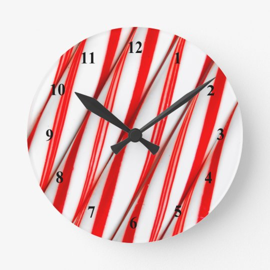 Funky Chrstmas Candy Canes Round Clock