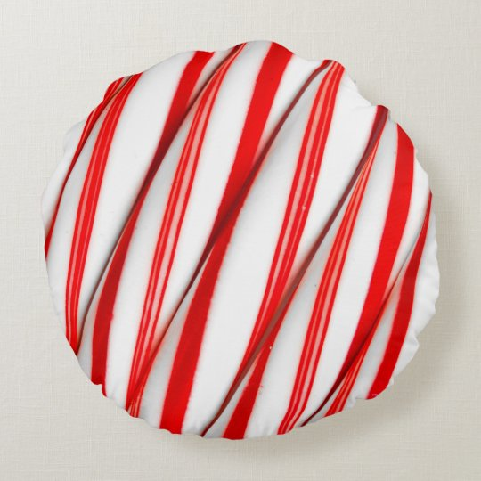 Funky Chrstmas Candy Canes Round Pillow
