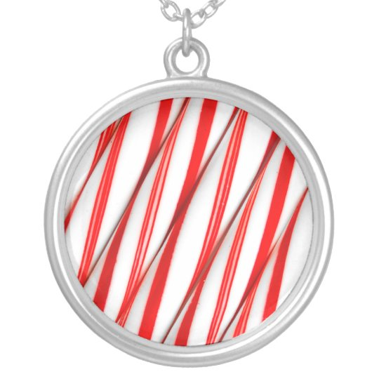 Funky Chrstmas Candy Canes Silver Plated Necklace