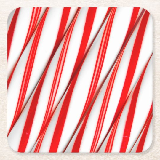 Funky Chrstmas Candy Canes Square Paper Coaster