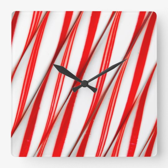Funky Chrstmas Candy Canes Square Wall Clock