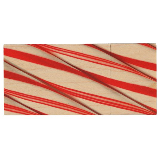 Funky Chrstmas Candy Canes Wood USB Flash Drive