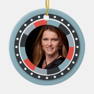 Funky Circle frame2 - Grey and Red on blue grey Double-Sided Ceramic Round Christmas Ornament
