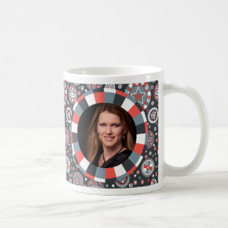 Funky Circle frame - Grey and Red on pattern Classic White Coffee Mug