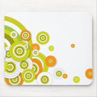 Funky circles on white mouse pad