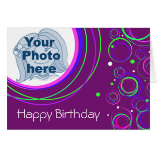 """Funky circles """"your picture\"""" birthday card purple"""