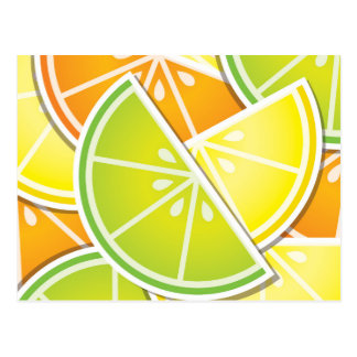 Funky citrus wedges postcard